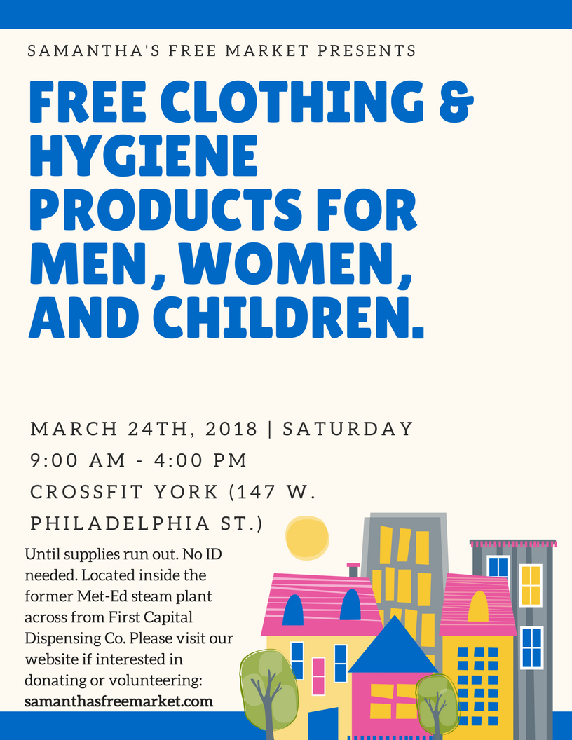 free clothing & hygiene products for men, women, and children.